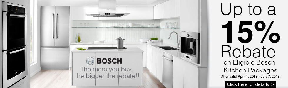 Bosch Kitchen Package Rebate- Save up to 15% on qualified purchase